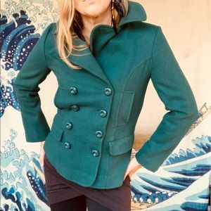 Tulle teal 60wool structured pea coat. So cute! S